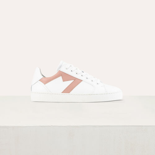 Leather sneakers with contrast M cutout : Accessories color Gold