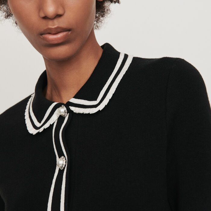 Contrast and jeweled polo-style sweater : Knitwear color Black