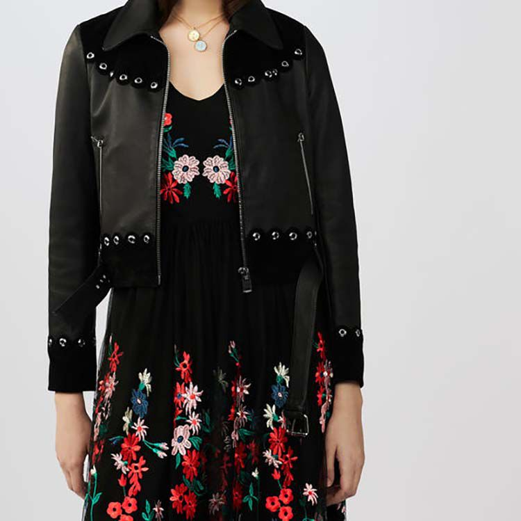 Cropped leather and suede jacket : Jackets color Black 210