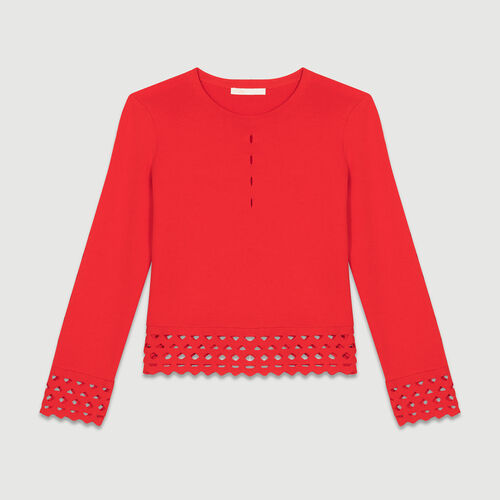 Sweater with open-knit detailing : Knitwear color ROUGE