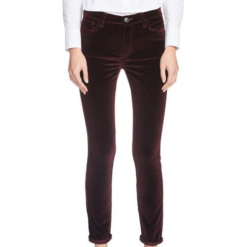 Velvet high-waisted trousers : Trousers & Jeans color Burgundy