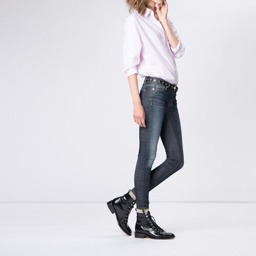 Untreated slim jeans in stretch cotton : Trousers & Jeans color Denim