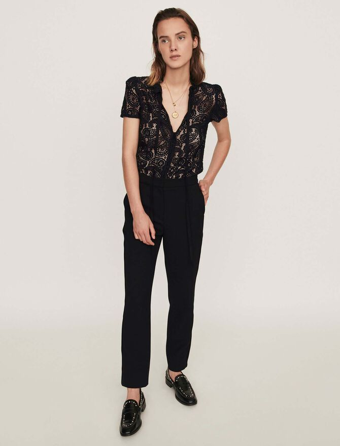 Guipure and crepe jumpsuit - Trousers & Jeans - MAJE