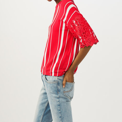 Striped t-shirt with lace sleeves : Sweaters & Cardigans color ROUGE