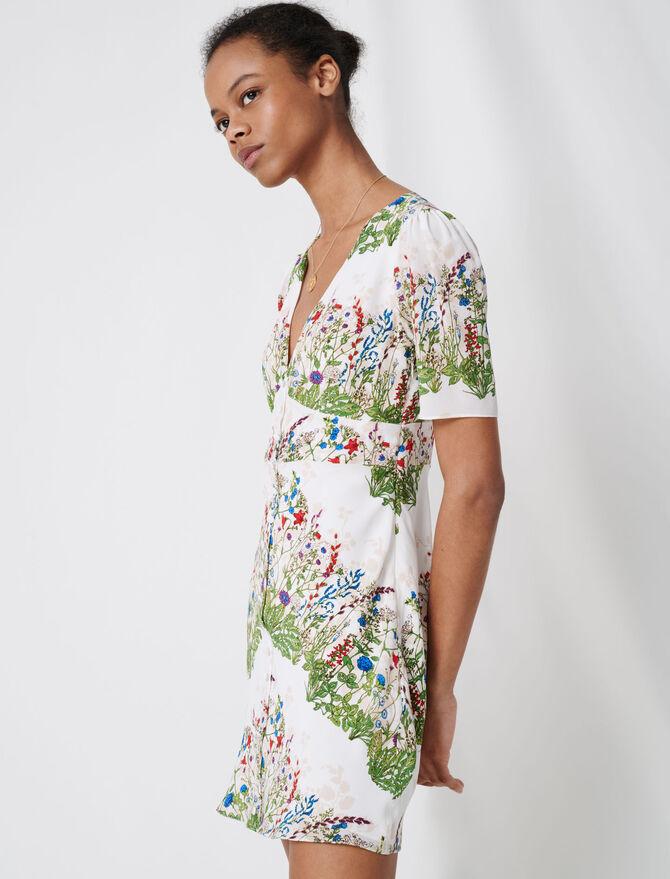 Printed silk mini dress - Dresses - MAJE