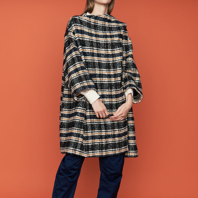 Poncho-style coat in tartan - See all - MAJE
