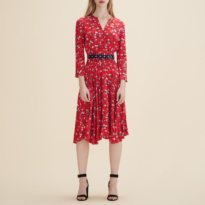 Printed midi dress - Red flowers - MAJE