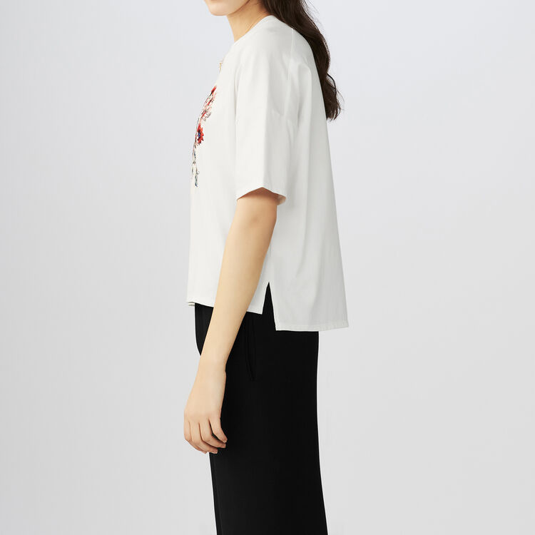 Embroidered cotton t-shirt : T-Shirts color WHITE