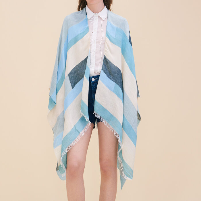 Lightweight poncho with graphic print -  - MAJE