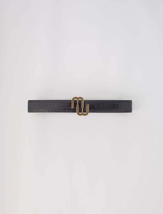 Croc-effect leather double M belt - Star pieces - MAJE
