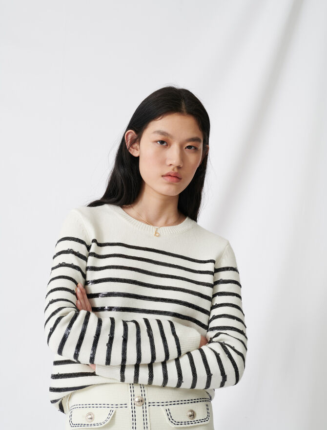 Breton jumper with sequins - Knitwear - MAJE