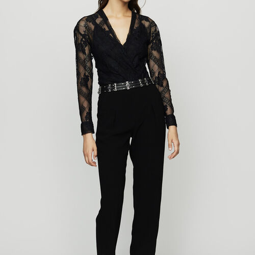 Jumpsuit in crepe and lace : Jumpsuits color Black 210