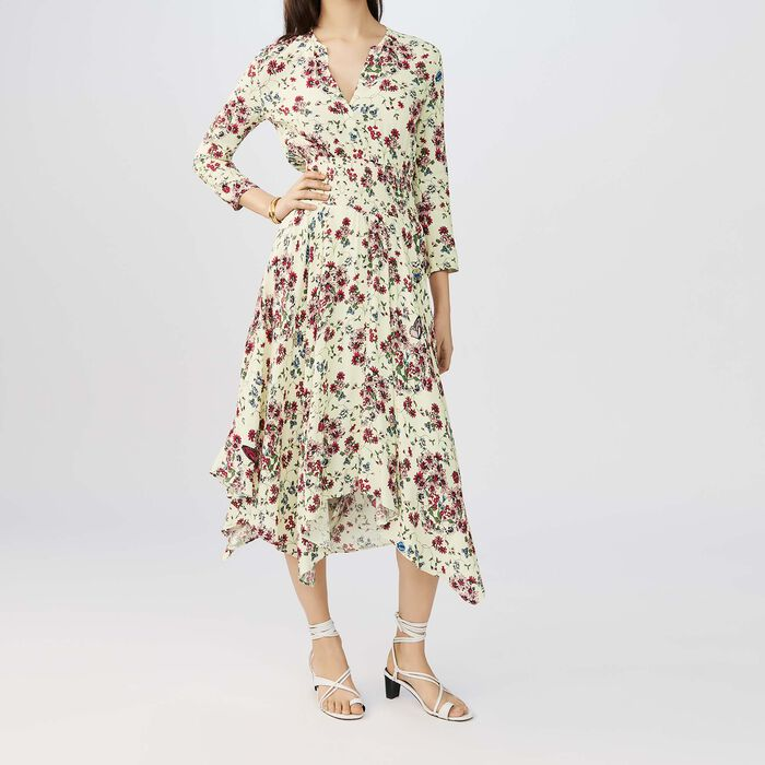 Printed crepe asymmetric dress : Dresses color PRINTED