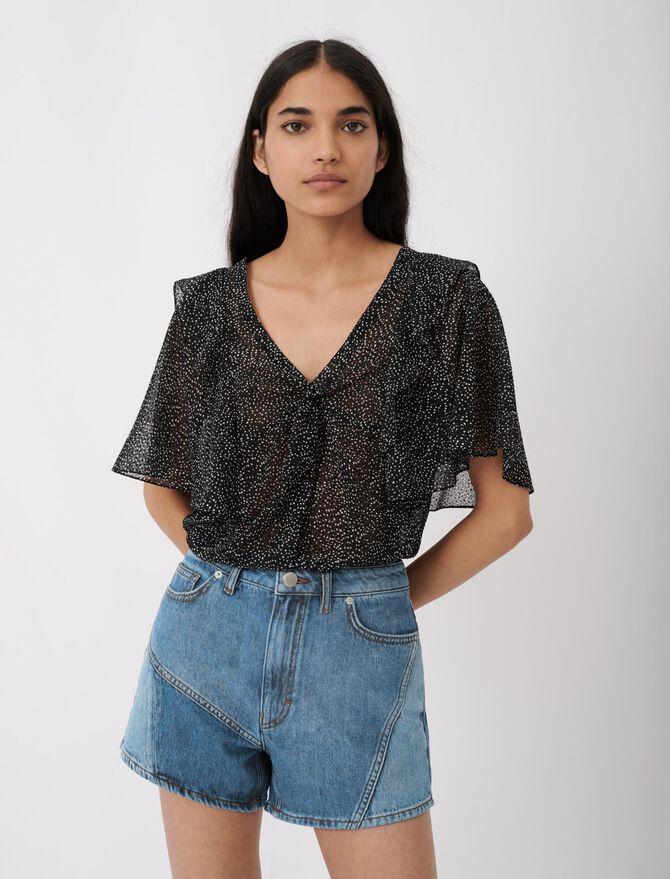 Patched denim shorts - Skirts & Shorts - MAJE