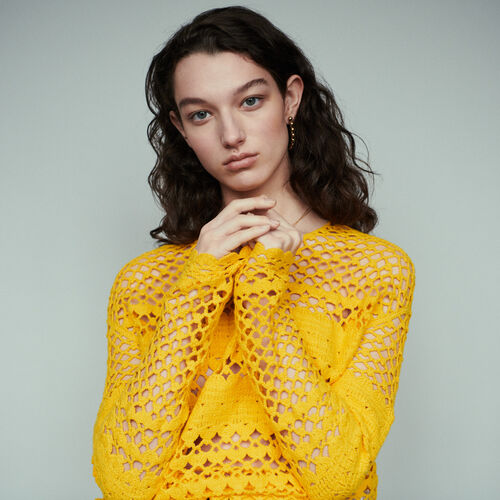 Oversize sweater in crochet knit : Knitwear color Yellow