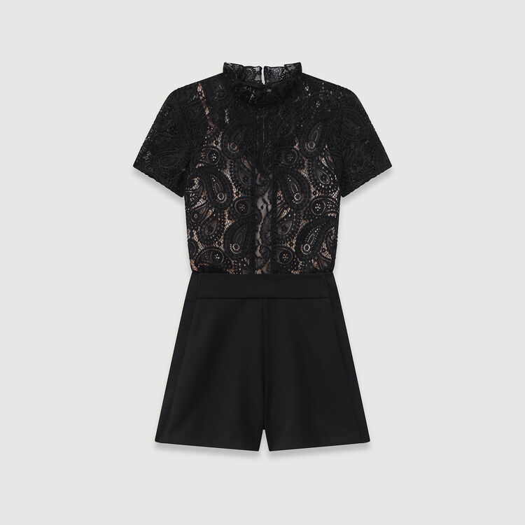 Guipure and crepe playsuit : Winter collection color Black