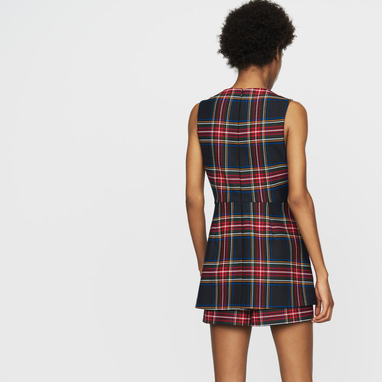 Plaid romper with faux-skirt : Skirts & Shorts color CARREAUX