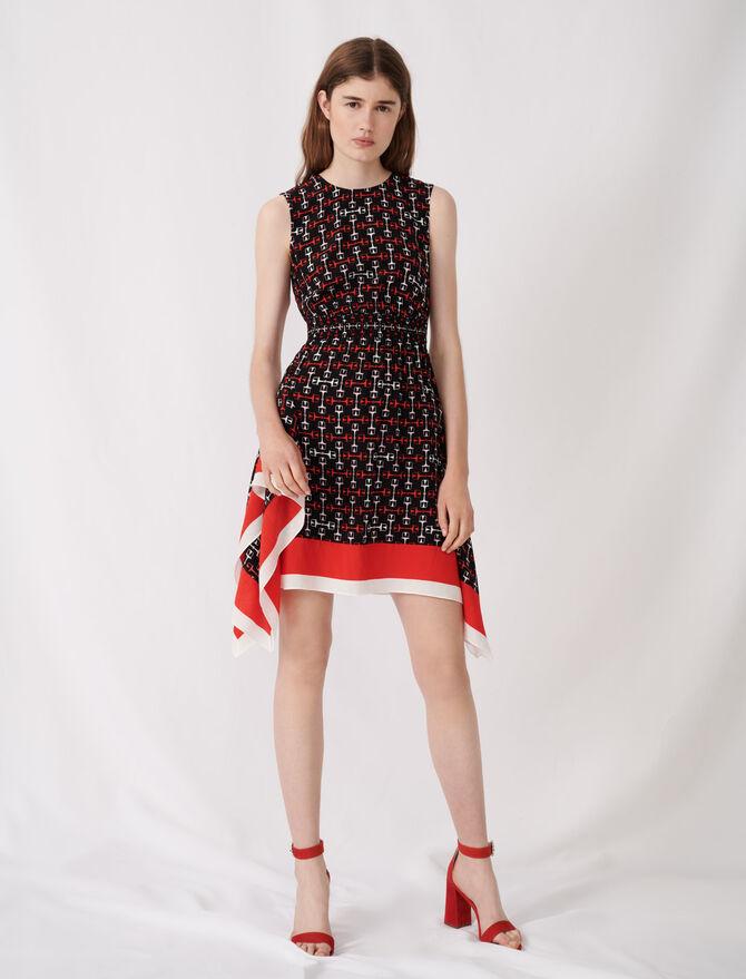 Smocked satin dress with scarf print - Dresses - MAJE