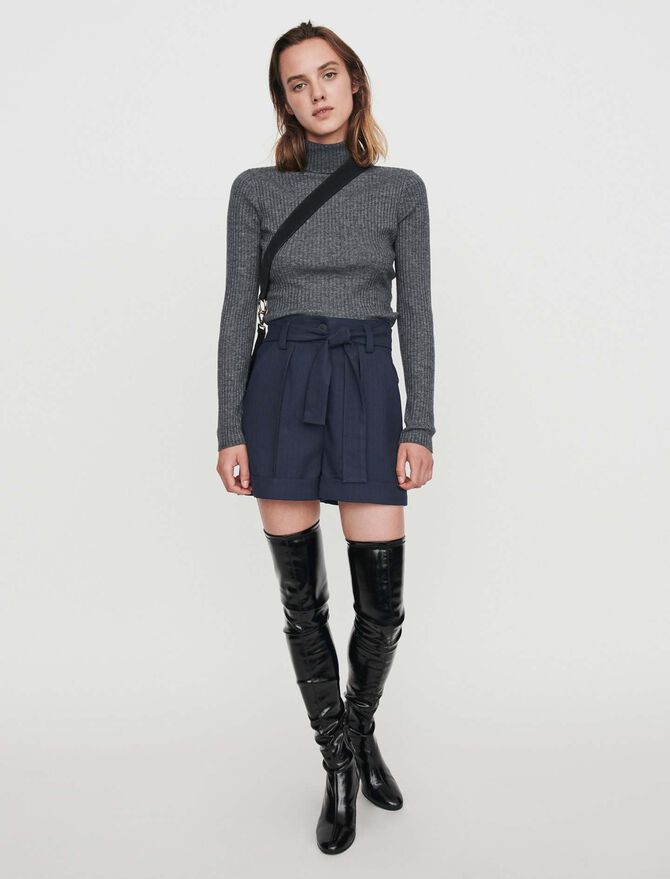 Belted shorts with tennis stripes - SoldesFR_Jupes_shorts - MAJE