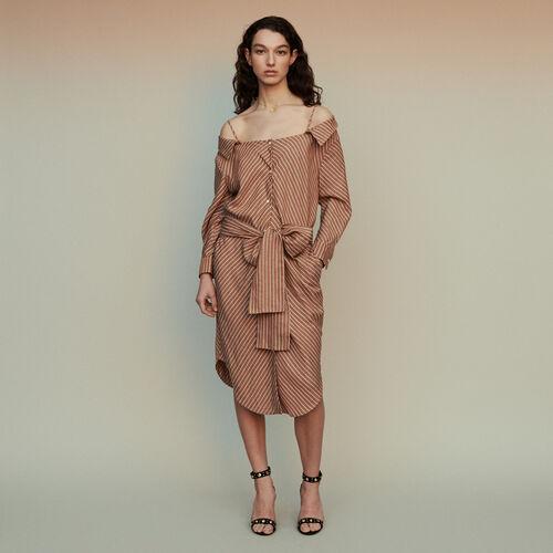 05ea6716358 Dresses true Striped shirt dress with bare shoulders   Dresses color  Terracota