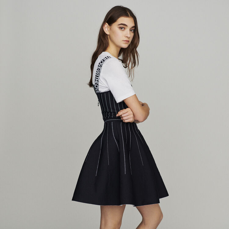 Reversible weaved short dress : Dresses color Black 210