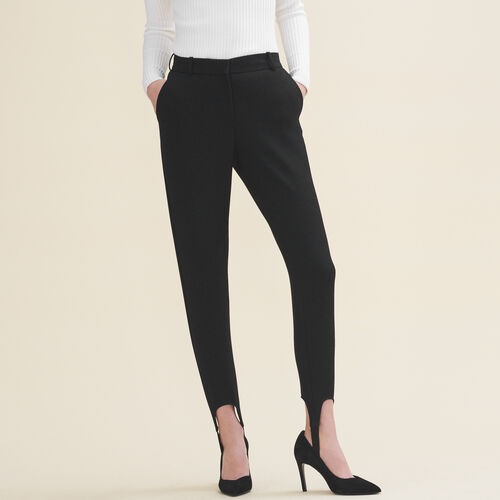 Straight-cut crepe stirrup trousers : Trousers & Jeans color Black 210