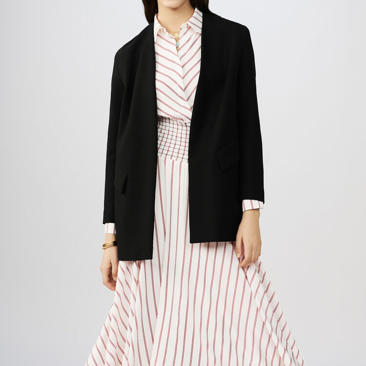 Collarless cotton blend dress jacket : Blazers color Black 210