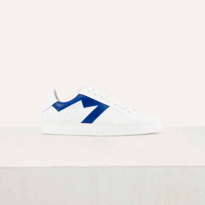 Leather sneakers with contrast M : Sneakers color Blue