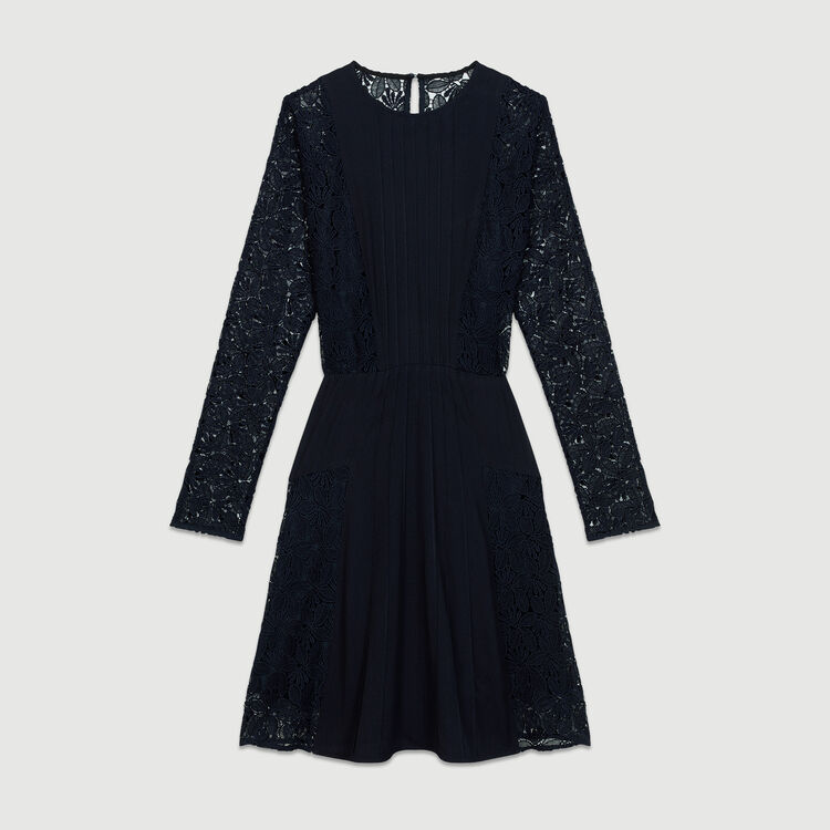 Crepe and lace dress : Dresses color Navy