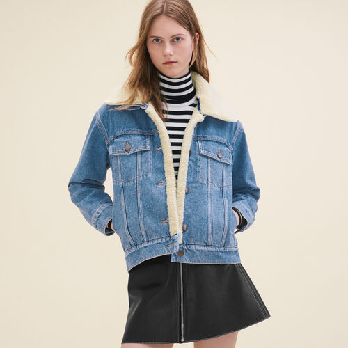 Denim jacket with sheepskin detail : Jackets color Denim