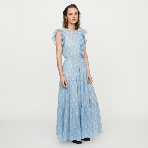 Long printed ruffled dress : Dresses color Blue