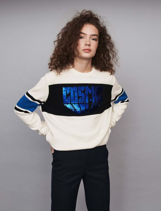 Sequin sweater with contrasting details - Knitwear - MAJE