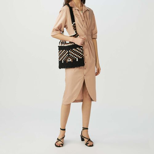 Shirt dress with fold : Dresses color SAND BEIGE