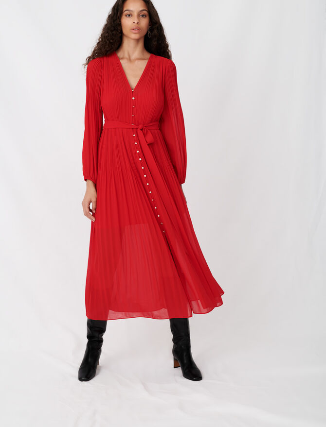 Pleated and belted muslin dress - Dresses - MAJE