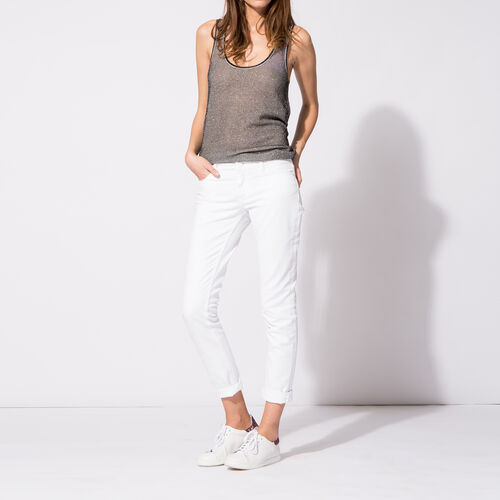 Stretch cotton slim jeans. : Trousers & Jeans color White