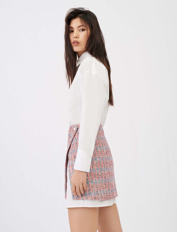 Trompe-l'œil tweed shirt dress - All the collection - MAJE