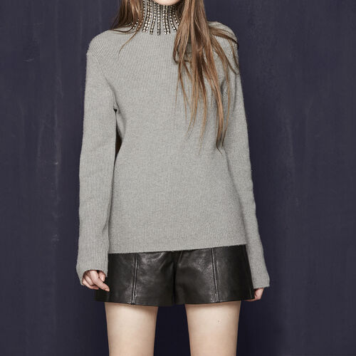 Ribbed knit sweater with studs : Sweaters & Cardigans color Grey
