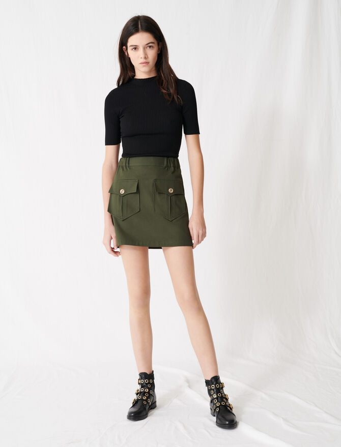 Khaki cotton skirt with pockets -  - MAJE