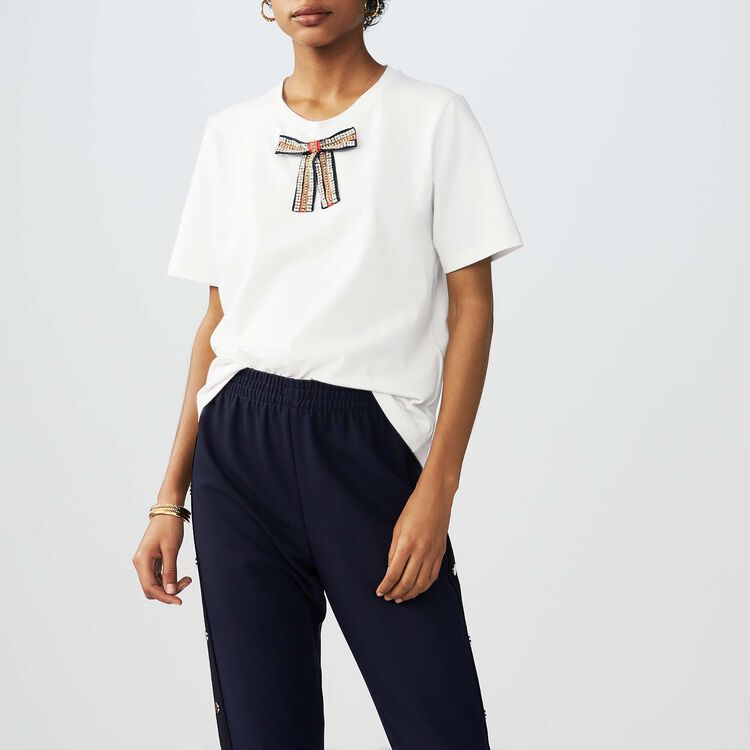 Loose cotton T-shirt with jeweled bow : T-Shirts color White