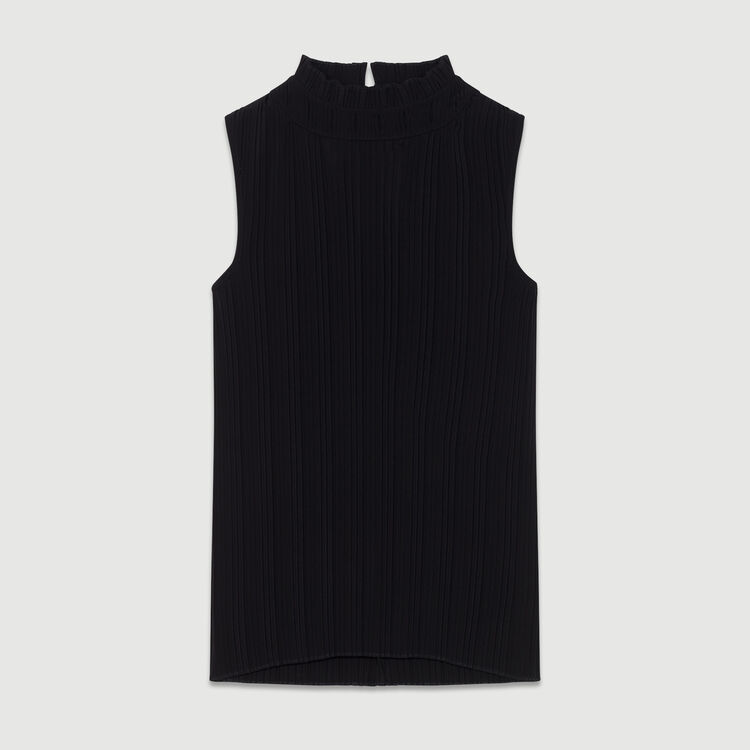 Sleeveless pleated top : Ready to wear color Black 210