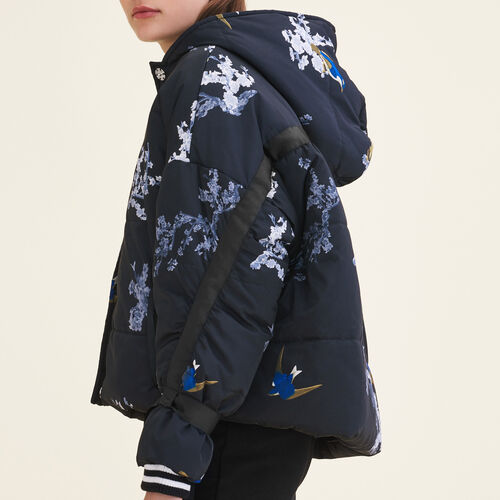 Cropped printed down jacket : See all color PRINTED