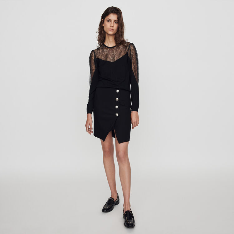 Light knit and lace sweater : Knitwear color Black