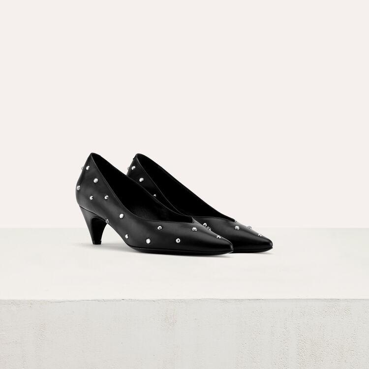 Kitten-heel glitter pumps : Slipper color Black 210