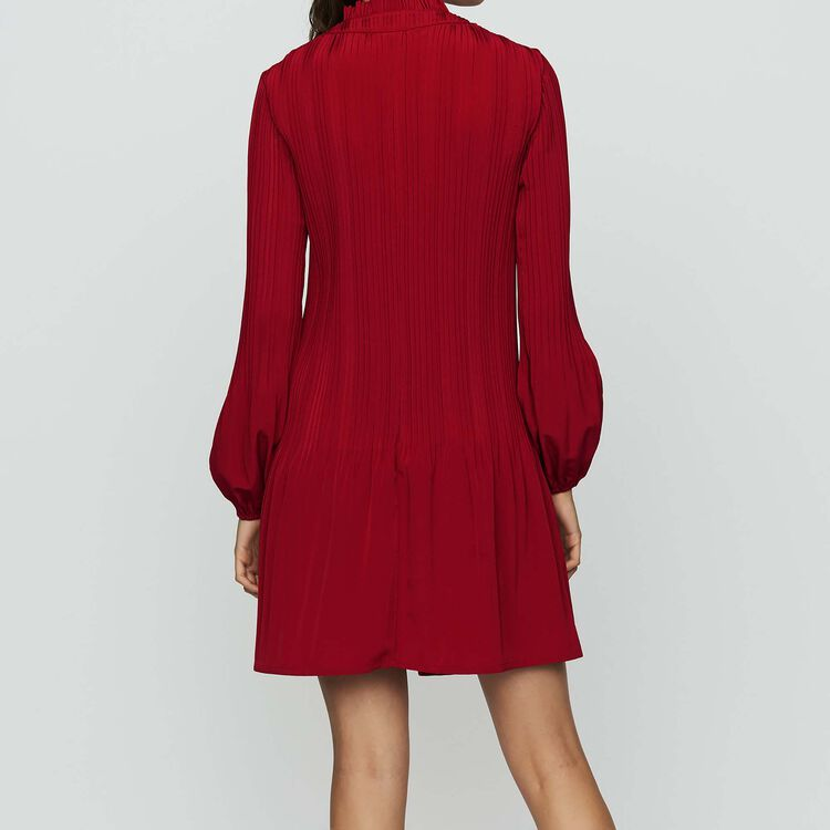 Short pleated dress : Dresses color Raspberry
