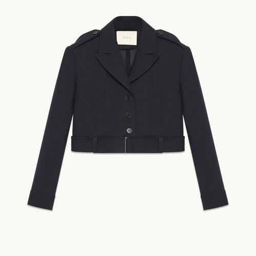 Short jacket with detail on the back : Blazers color Navy