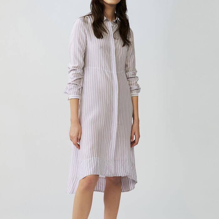 Asymmetrical striped shirt dress : Dresses color Stripe