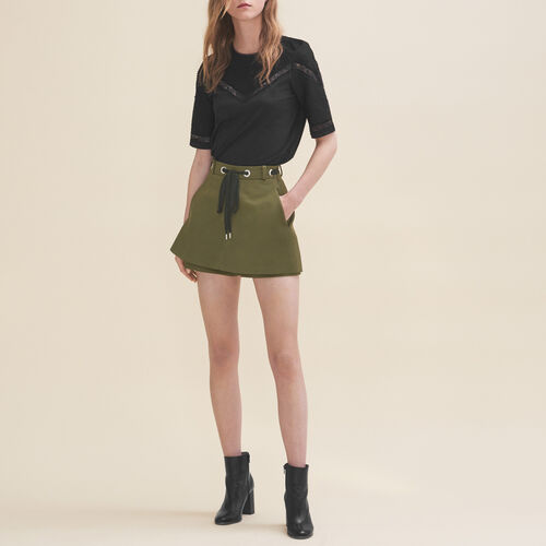 Shorts with eyelets and lacing : Skirts & Shorts color Khaki