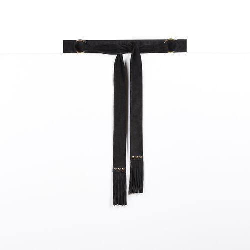 Goatskin suede tie belt : Accessories color Black 210