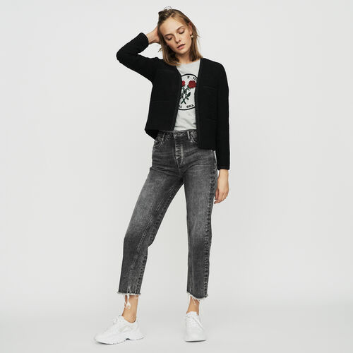 Cropped jacket in terry : Blazers color Black 210