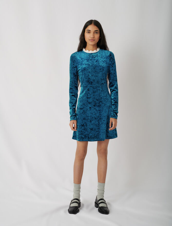Crushed velvet dress with fancy collar - This week - MAJE